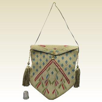 Antique 18th century Silk Tapestry Weave Purse Bag Reticule, Aleppo, Ottoman Empire, Circa 1790 to 1820