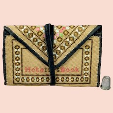 Antique Victorian Sampler Purse Pocketbook Notebook Sewing Etui Dated 1875