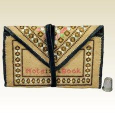Antique Victorian Sampler Purse Pocketbook Notebook Sewing Etui Dated 1875
