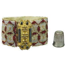 19th Century Beaded Beadwork Bracelet Pinchbeck Cut Steel Clasps 1840