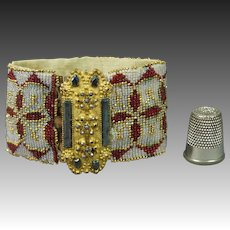 19th Century Beaded Beadwork Bracelet Pinchbeck Cut Steel Clasps 1840