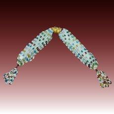19th Century Beaded Miser's Purse RARE Coiled Snake Gilt Sliders, Circa 1840's
