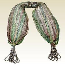 Antique Regency Purse Silk Netted Sprang Miser Stocking Purse Circa 1820