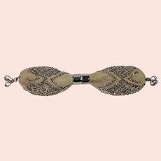 Regency Era Small Beaded Stocking Purse Misers Silk Net & Cut Steel Beadwork, French Circa 1810 For Wedding