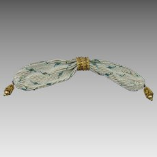 Antique Regency Era Small Beaded Beadwork Stocking Purse Lovely Gilt Sliders French Circa 1810 For Wedding AF