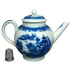 19th Century Childs Toy Miniature Teapot Blue And White Chinoiserie Transferware English Circa 1805