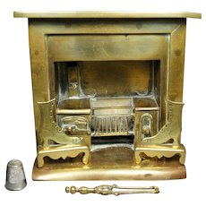 19th Century Toy Brass Stove Vignette Fireplace Model, Incl Rare Fire Accessories, Circa 1860