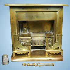 19th Century Victorian Large Doll House Brass Stove Vignette Fireplace Model, Incl Rare Fire Accessories, English Circa 1860