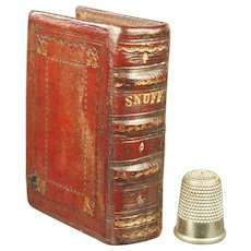 19th Century Miniature Georgian Red Leather Snuff Book Secret Storage Safe Box Circa 1830