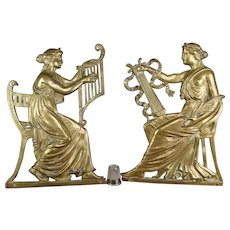 Antique Pair 19th Century Gilt Figures Musical Muses, Architectural Elements French Circa 1870