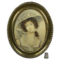 Antique Georgian Watercolor Portrait Lady Oval Pressed Brass Frame Circa 1800 Emma Hamilton Like.