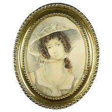 Antique Georgian Watercolor Portrait of A Lady, Oval Pressed Brass Frame, Circa 1800 Emma Hamilton Like.