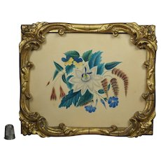 19th Century Georgian Watercolor Theorem Floral Painting Passiflora Unopened Period Rococo Style Gilt Frame