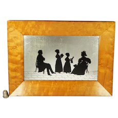 Georgian Group Silhouette Conversation Piece With Doll, Reverse Mirror Silhouette Painting, Maple Frame Circa 1830
