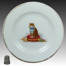 19th Century Victorian Hand Painted Porcelain Cat Plate Circa 1895 English