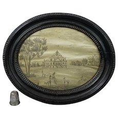 Antique English 18th Century Miniature Oval Print-Work Silk Embroidery Mereworth Castle Rotunda Circa 1780