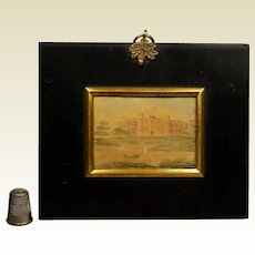 19th Century Rare Miniature Watercolor Landscape Painting English Castle Manor House 1822 Georgian