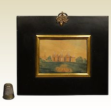 Georgian Miniature Watercolor Landscape Painting English Stately Home Signed Dated 1822