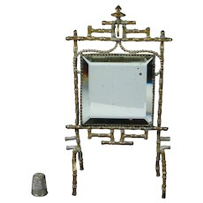 19th Century French Pocket Watch Holder Doll Mirror, Gilt Bamboo,  Victorian Circa 1860