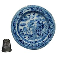 19th Century Doll Child Toy Miniature Plate Blue and White Rare Willow Pattern, Georgian Circa 1830