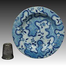 19th Century Doll Child Toy Miniature Plate Blue And White Transferware Pearlware Circa 1830