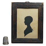 19th Century Regency Painted Silhouette Young Girl Reeded Frame, English Circa 1810 Jane Austen Era