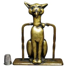 Art Deco Whimsical Cat Pocket Watch Holder Brass Glass Eyes English Circa 1930s
