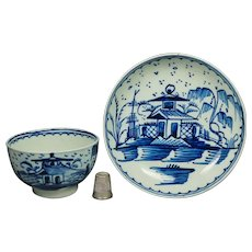 18th Century Hand Painted Blue And White Tea Bowl And Saucer Chinoiserie Pagoda Circa 1790