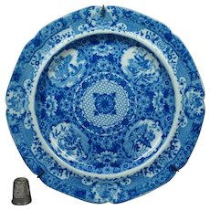 19th Century Spode Net Pattern Plate Blue And White Transferware, Georgian Circa 1805.