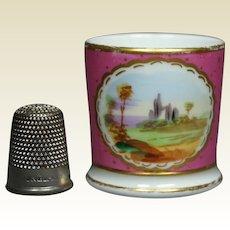 19th Century Georgian Miniature Staffordshire Porcelain Toy Mug Dolls Cup Rare Pink Color Circa 1830