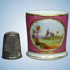 19th Century Georgian Miniature Staffordshire Porcelain Toy Mug Dolls Cup Rare Pink Color Circa 1830