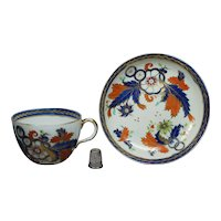 19th Century Georgian Porcelain Tea Cup And Saucer Ridgway Imari Pattern Circa 1808 Jane Austen Era