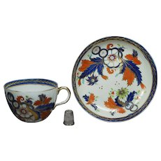 19th Century Georgian Porcelain Tea Cup And Saucer Ridgway Imari Pattern Circa 1808 Jane Austen Era