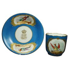 19th Century French Blue Celeste Sevres Style Porcelain Cup And Saucer Birds Scalloped Edge Circa 1890 AF