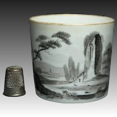 19th Century Regency Era Minton English Porcelain Coffee Can Cup En Grisaille Circa 1810 AF