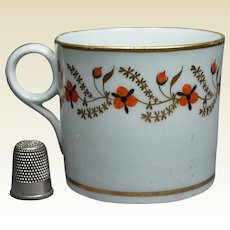 19th Century New Hall Porcelain Coffee Can Cup Trailing Flowers Circa 1810 Regency