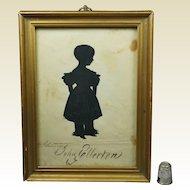 19th Century Georgian Portrait Silhouette Named Child John Ellerton Circa 1830's Gilt Frame
