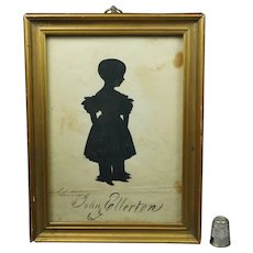 19th Century Georgian Portrait Silhouette Named Child John Ellerton Circa 1830's Gilt Frame