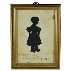 19th Century Georgian Boy Child Portrait Silhouette, John Ellerton, English  Circa 1830's Gilt Frame
