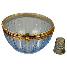 Vintage Miniature French Blue Pressed Glass Jewelry Casket Vitrine Box, Art Deco 1930