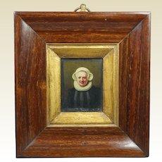 18th Century Dutch School Portrait Miniature Of A Lady Oil On Tin