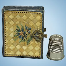 "Antique French Straw Work Miniature Photo Album Fashion Doll or Bébé Size 2"" x1.5"" Circa 1850 AF"