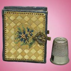 "Antique French Straw Work Miniature Photo Album Fashion Doll or Bébé Size 2"" x1.5"" Circa 1850 AF"