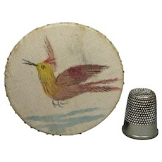 Antique Pincushion Hand painted Silk Ho Ho Bird and Flowers English Circa 1840