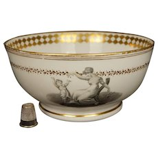 Antique Regency Era Porcelain Bowl Adam Buck Mother and Child, New Hall, Pattern 1147, Circa 1815
