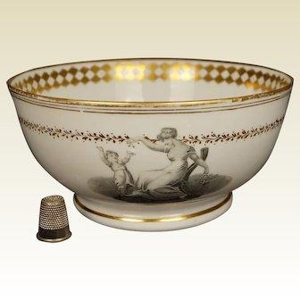Antique Regency Era Porcelain Bowl Adam Buck Mother and Child, New Hall, Pattern 1147, Circa 1815