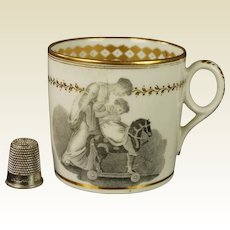 19th Century New Hall Coffee Can Cup Pattern 1147 Adam Buck Child Hobby Horse Regency Porcelain Circa 1815