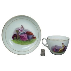 19th Century Regency era, New Hall Porcelain Tea Cup And Saucer Adam Buck Design Mother and Child Circa 1815
