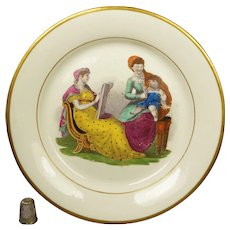 19th Century Plate Regency Era Adam Buck Mother And Child Artist, New Hall Porcelain Pattern 224 Circa 1815