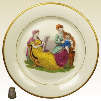 19th Century Plate Regency Era Adam Buck Mother And Child Artist, New Hall Porcelain Pattern 224 Circa 1815